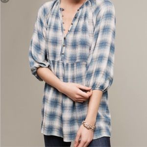 Anthropologie Maeve Plaid Tunic Top Small